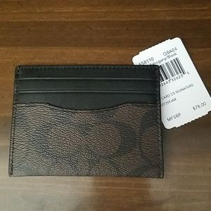 Coach Signature Slim Card Case Mahogany / Black